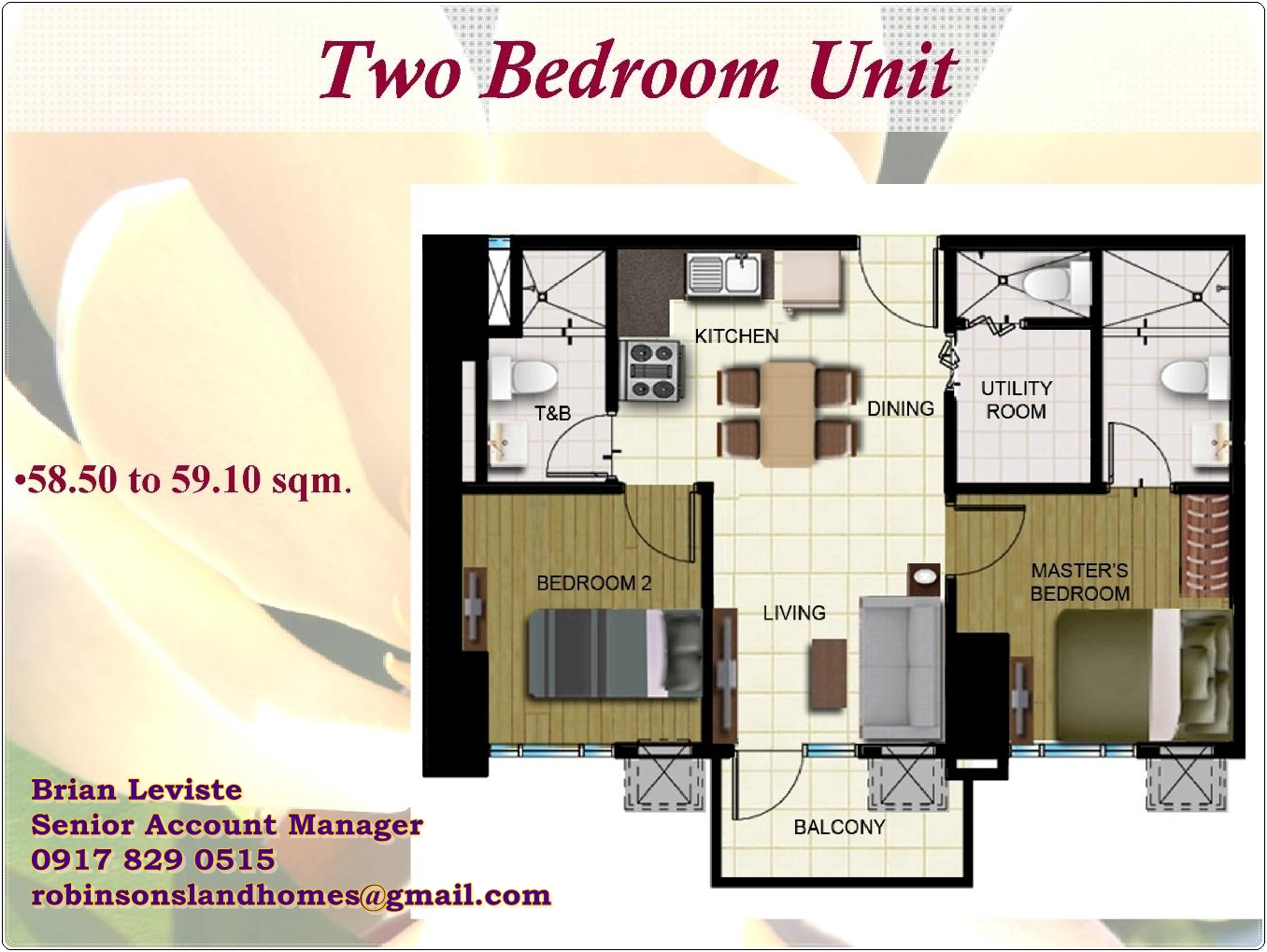 Two bedroom condo at sqm magnolia residences new for 2 bhk interior decoration pictures