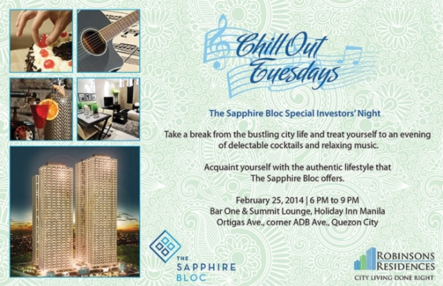 Sapphire Bloc Event - Chillout Tuesday at Bar One Summit Lounge on 25 Feb 2014