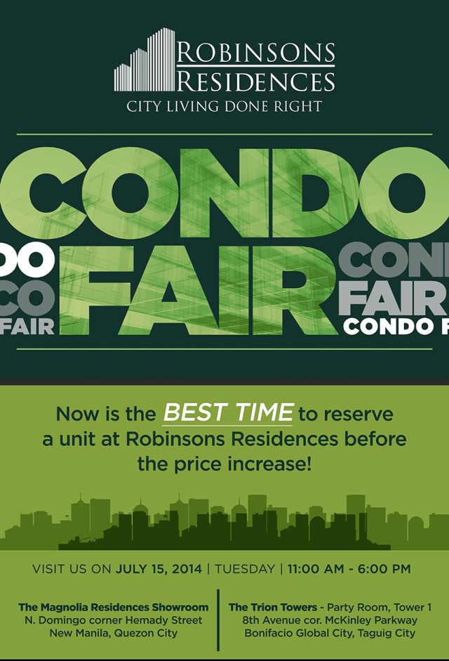 Robinsons Residences Condo Fair on 15 July 2014 at Trion Towers Showroom and Magnolia Showroom