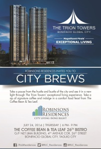 The Trion Towers - City Brews on July 24 2014 at The Coffee Bean and Tea Leaf - Bonifacio Global City
